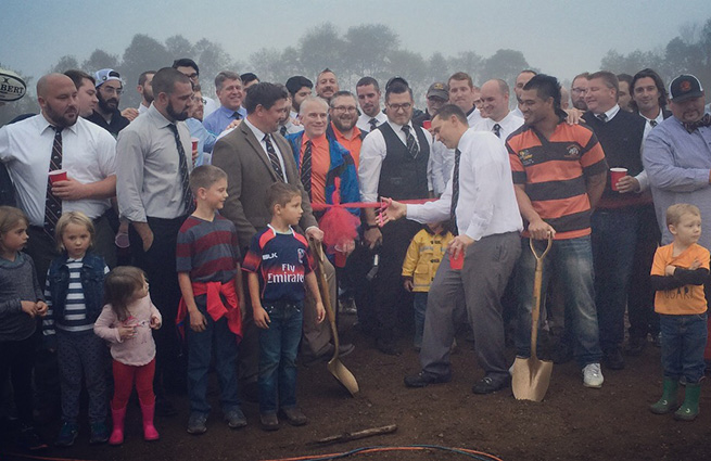 Kalamazoo Dogs rugby pitch commercial loan ribbon cutting